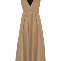 Summer Shoulder Bowtie Beige Midi Dress