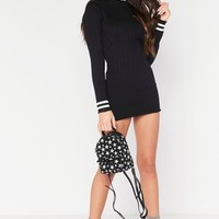 Ivy Black Ribbed High Neck Jumper Dress
