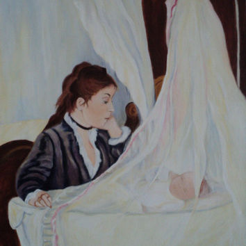 reproduction Berthe morisot 1872 the cradle  16 inchs by 20 inchs mjcreation julie