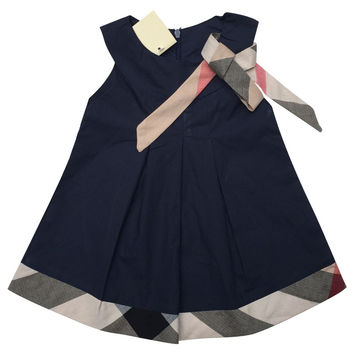 baby dress casual kids clothes fashion bow baby clothing summer style dresses cotton child outfits plaid costumes