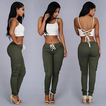 Summer Casual Multi Pocket Pants High Waist Solid Lacing White Red Army Khaki Shiny Pencil Pants Capri Women Trousers