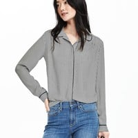 Striped Round-Collar Blouse | Banana Republic