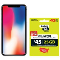 Straight Talk Apple iPhone X Bundle with $45 airtime plan, Gray - Walmart.com