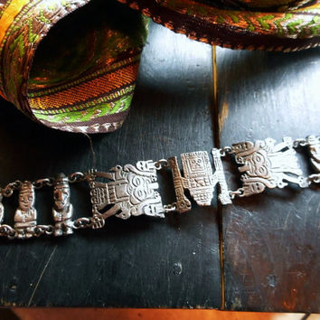 THE RUINS. Antique Vintage Sterling silver Mayan Tribal Bracelet. Hallmarked & Stamped Authentic 900 19th century silver