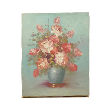 Shabby Rose Bouquet Oil Painting, Vintage Still Life, Old Chippy Decor, Cottage, French Country, Farmhouse Art, Signed Cox, Pink & Turquoise