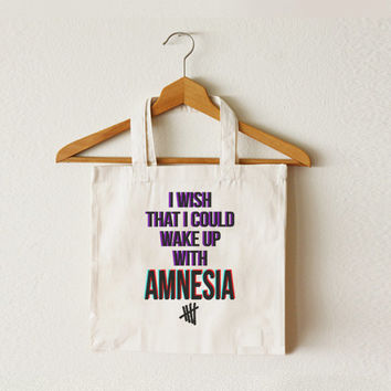 I Wish That I Could Wake Up With AMNESIA tote bag - 5SOS bag - 5 Seconds of Summer - Canvas tote bag - TOT-013