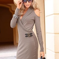 Taupe (TP) Cold Shoulder Sweater Dress