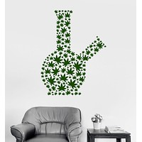 Wall Vinyl Decal Marijuana Bong Smoking Weed Smoke Cannabis Stickers Unique Gift (ig3105)
