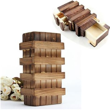Chinese Vintage Classic Brain Magic Trick Wooden Puzzle Box Secret Drawer Gift Educational Toys Children Gift Baby Kid Toys