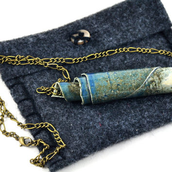 Tube Necklace Bar Necklace Ceramic Pendant Handmade Jewellery Blue Grey on Antique Bronze Chain in Handmade Jewellery Bag Made in Australia
