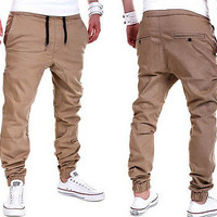 2017 new fashion hot casual solid Men's Trousers Sweatpants Casual Harem Pants Slacks Jogger Dance Sportwear USA