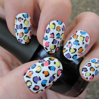 Bright Rainbow Leopard Print Nail Art - Fake Nails - Hand Painted - Ready to Ship