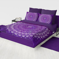 Purple Mandala Duvet Cover or comforter - amethyst and white with geometric mandala boho bedding