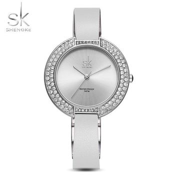 SK New Women's Female Diamond Watches White Leather Strap Top Luxury Brand Ladies Wristwatch Stainless Steel Quartz Clock 2017