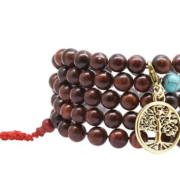 Handmade Tibetan Elastic String 8mm Dark Wood and Imitation Turquoise 108 Prayer Beads Wrap Bracelet Mala with Removable Charms