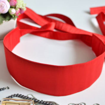 Red Obi belt, Red women's belt, Extra long belt, Gift for mother, sister, Elegant belt, Fabric belt, Wedding belt, Red satin belt