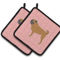 Pug Checkerboard Pink Pair of Pot Holders BB3647PTHD