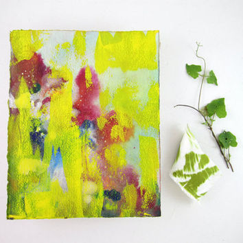 Iridescent Mixed Media Painting - Original Abstract Watercolor - Yellow - Pink - Green - Blue - 8 x 10