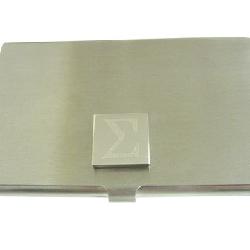 Silver Toned Etched Mathematical Greek Sigma Symbol Business Card Holder