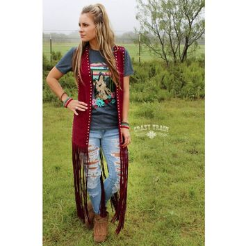 Wyoming Wine Studded Duster Fringe Vest by Crazy Train
