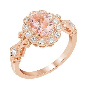 14k Rose Gold Oval Morganite and Diamond Floral Halo Ring