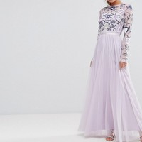Frock and Frill Embroided Maxi Dress with Tulle Skirt and Open Back at asos.com