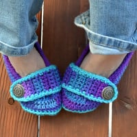 Crochet slippers, booties, shoes, socks with a button strap, colorful variegated tie dye spring collection in grapefizz