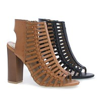 Embark33M By Bamboo, Open Toe Caged Mule Faux Wooden Block Heel Sandal