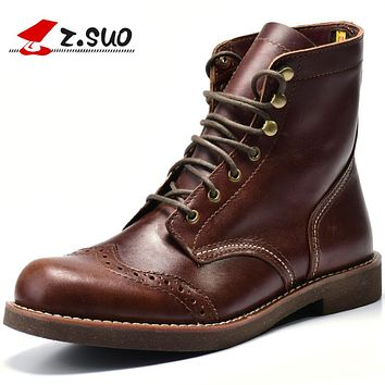 Motorcycle Men Boots Brogue Ankle Combat Boots New Spring Genuine Leather Waterproof Buckle Military Boots Men Shoes