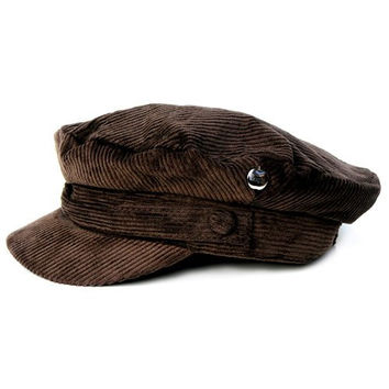 Official The Beatles John Lennon Corduroy Breton Sterkowski style cotton Cap Hat (Medium, Brown)