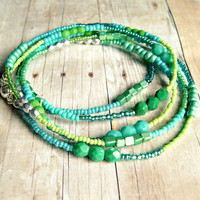 mermaid 's dream long beaded necklace blue green silver, bohemian, boho, wrap bracelet