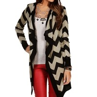 Promo-Black/Tan Chevron Cardigan