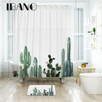IBANO Tropical Cactus Shower Curtain Waterproof Polyester Fabric Bath Curtain For The Bathroom Decorate With 12pcs Plastic Hooks