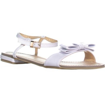 Rampage Rangler Bow Tie Ankle Strap Flat Sandals , White Patent, 6.5 US