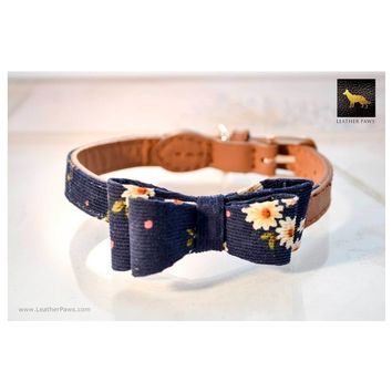 Navy Daisies Bow Tie Leather Dog Collar