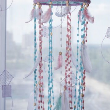 Fantasy Bаbу  Mobile Dream Catcher Nursery Decor Mobile Pink  Blue Mobile Nursery Boho Dream Catcher Mint Dreamcatchers Baby Girl Boy