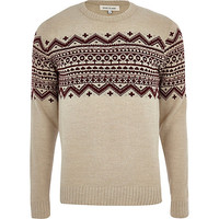 River Island MensEcru fair isle stripe crew neck sweater