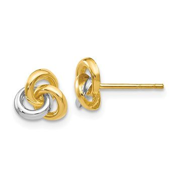 7mm Two Tone Love Knot Post Earrings in 14k Gold and Rhodium