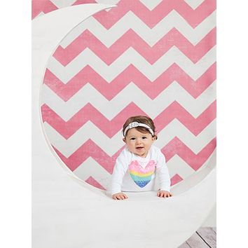 Distressed Pink Chevron Printed Photography Background / 9815