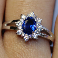 Classic Sapphire Promise Ring on Hand