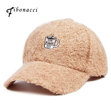 Fibonacci 2017 New High Quality Female Baseball Cap Fashion Solid Color Rabbit Hair Ball Corduroy Women Egg Hats