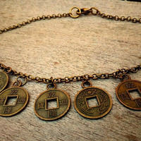 Coin Anklet, Bronze Charm Ankle, Medals Anklet, Boho Ethnic Link Bracelet Anklet, Gypsy Bohemian Ankle, Body Jewelry, Anklet with charms