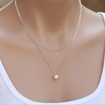Elegant double layer necklace Simple pearl necklace+Beautiful gift box 080401