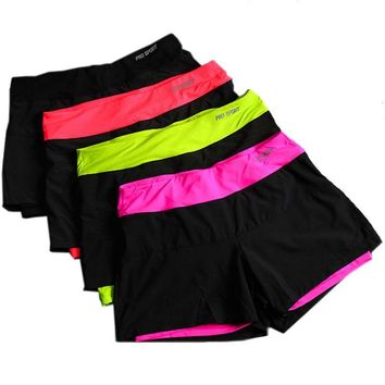 Women Running Shorts,Lined Anti-Emptied Stretch Trainning Fitness Yoga Sports Short Pants Slim Gym Sweat Shorts