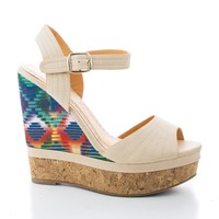 Betty8 Nude Pu By Blossom, Tribal Peep Toe Sling back Corkscrew Platform Wedges