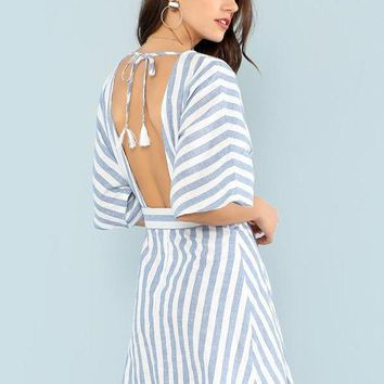 Deep V Striped Dress