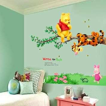 DIY Winnie the POOH Bear Vinyl Mural Wall Decals Sticker Kids Nursery Decor