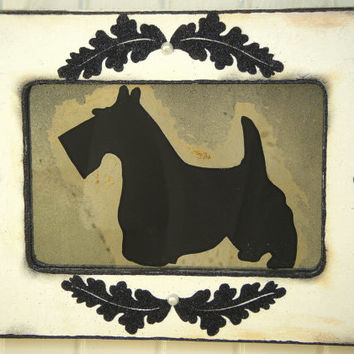 Scottie Dog Antiqued Mirror Vintage Style Home Wall Decor Pet Art Shabby Chic Black White French Country Cottage