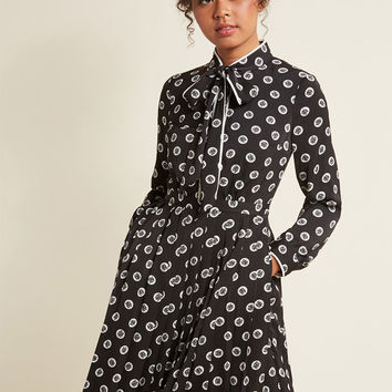 Pleated Shirt Dress with Tie Neck