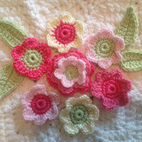 Hand Crochet Flower Appliques Embellishments-Set of 11 Key Lime Pie Green Hot Bubblegum Princess Pinks Creamy White